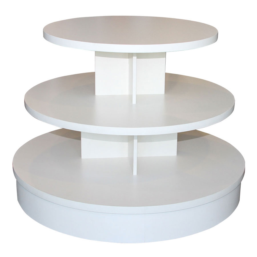 3 Tier White Melamine Round Table Retail Display Tables By Grand Benedicts Store Fixtures